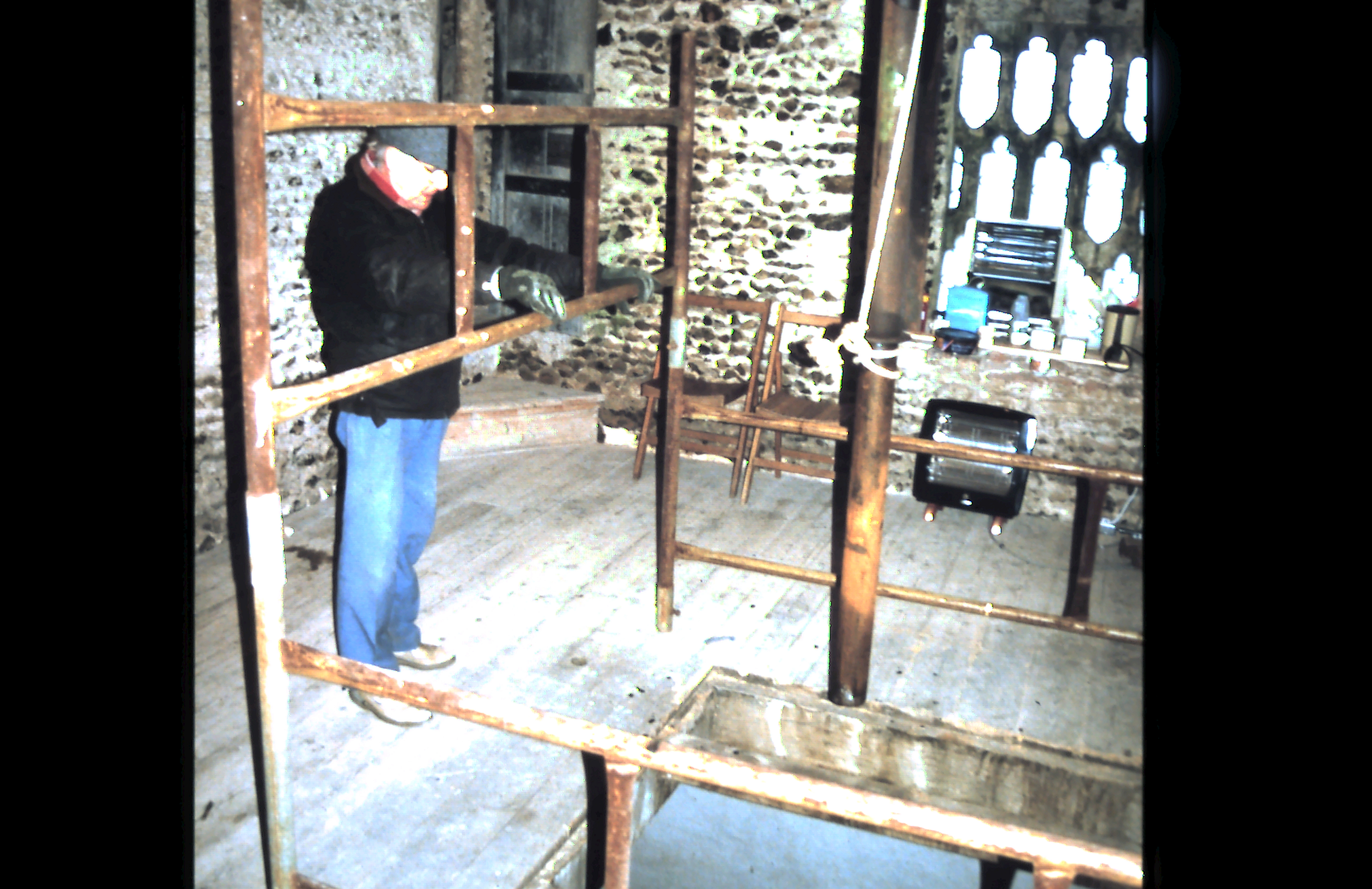 preparing to move the bells, the ringing chamber